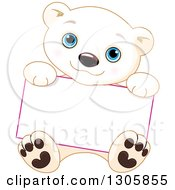 Clipart Of A Cute Baby Polar Bear Cub Sitting And Holding A Blank Sign Royalty Free Vector Illustration