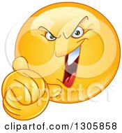 Clipart Of A Yellow Evil Smiley Face Emoticon Wringing His Hands And Laughing Royalty Free Vector Illustration