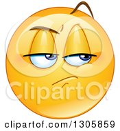 Clipart Of A Yellow Smiley Face Emoticon With A Jealous Expression Royalty Free Vector Illustration