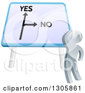 Clipart Of A 3d Silver Man Looking Up At A Big Yes And No Billboard Sign And Thinking On Which Direction To Go Royalty Free Vector Illustration by AtStockIllustration