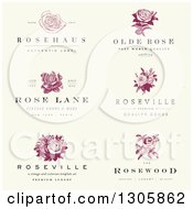 Vintage Rose Label Designs With Sample Text On Distressed Beige