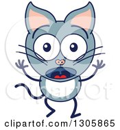 Clipart Of A Cartoon Surprised Gray Cat Character Royalty Free Vector Illustration by Zooco