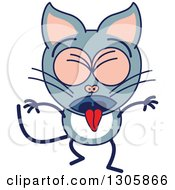 Clipart Of A Cartoon Sick Gray Cat Character Vomiting Royalty Free Vector Illustration by Zooco