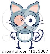 Clipart Of A Cartoon Gray Cat Character Winking Royalty Free Vector Illustration by Zooco