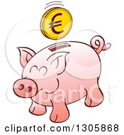 Clipart Of A Cartoon Pink Piggy Bank With A Euro Coin Over The Slot Royalty Free Vector Illustration