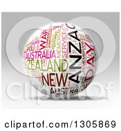 3d White Anzac Day Word Tag Collage Globe With Colorful Words