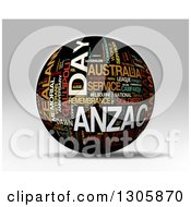 Clipart Of A 3d Black Anzac Day Word Tag Collage Globe With Colorful Words Royalty Free Illustration by MacX
