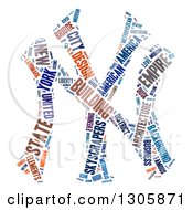 Clipart Of A Colorful NY For New York Word Tag Collage Over White Royalty Free Illustration