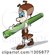 Clipart Of A Cartoon Happy Ant Carrying A Pole Royalty Free Vector Illustration