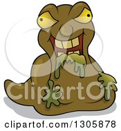Clipart Of A Cartoon Slug Like Garbage Monster Royalty Free Vector Illustration