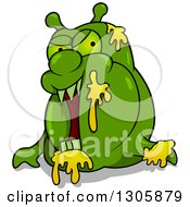 Clipart Of A Cartoon Green Garbage Monster Royalty Free Vector Illustration