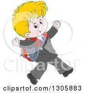 Clipart Of A Cartoon Happy Blond White School Boy Walking To School Royalty Free Vector Illustration