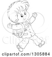 Lineart Clipart Of A Cartoon Black And White Happy School Boy Walking To School Royalty Free Outline Vector Illustration