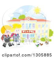 Clipart Of Happy Blond Caucasian School Children Holding Hands And Approaching Birds Outside A School Building Royalty Free Vector Illustration