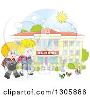 Clipart Of Cartoon Happy Blond White School Children Holding Hands And Approaching Birds Outside A School Building Royalty Free Vector Illustration