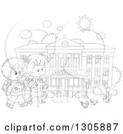 Lineart Clipart Of Black And White Cartoon Happy School Children Holding Hands And Approaching Birds Outside A School Building Royalty Free Outline Vector Illustration
