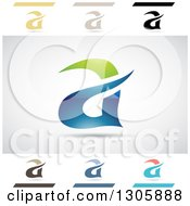 Clipart Of Abstract Letter A Aria Water Design Elements Royalty Free Vector Illustration