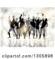 Clipart Of A Crowd Of Silhouetted Male And Female Dancers Against Flares And Sparkles Royalty Free Vector Illustration