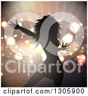 Clipart Of A Silhouetted Female Pop Star Celebrity Dancing Over Flares And A Burst Of Light Royalty Free Vector Illustration