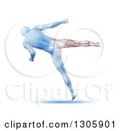 Clipart Of A 3d Blue Anatomical Male Kick Boxing Rear View With Visible Leg Muscles On White Royalty Free Illustration