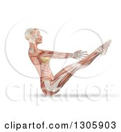 Clipart Of A 3d Anatomical Woman Stretching In A Yoga Pose With Visible Muscles And Tendons On White Royalty Free Illustration by KJ Pargeter