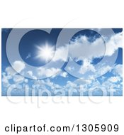 3d Sun Shining Over Clouds In A Blue Sky