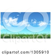Clipart Of A 3d Spring Or Summer Blue Sky With Clouds Over Green Grass Royalty Free Illustration