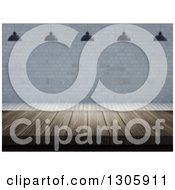 Clipart Of A 3d Wooden Table Under Suspended Lights Against A Brick Wall Royalty Free Illustration