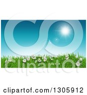 Clipart Of A 3d Sunny Spring Day Background With Blue Sky Daisies And Grass Royalty Free Illustration
