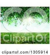 Clipart Of A 3d Grassy Meadow Framed By A Vine Royalty Free Illustration by KJ Pargeter