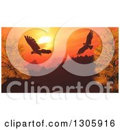 Clipart Of 3d Eagles Flying Over Silhouetted Mountains And Autumn Trees Against An Orange Sunset Royalty Free Illustration