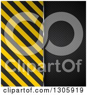 Clipart Of A Split Diagonal Hazard Stripes And Black Perforated Metal Background Royalty Free Vector Illustration by KJ Pargeter