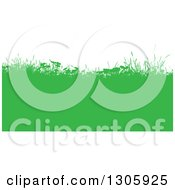 Clipart Of A Green Silhouetted Hill With Weeds And Grasses Against White Royalty Free Vector Illustration