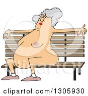 Clipart Of A Cartoon Chubby Nude Senior White Woman Sitting On A Park Bench Royalty Free Vector Illustration by djart