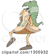 Clipart Of A Cartoon Chubby Caveman Carrying A Giant Lizard On His Shoulders Royalty Free Vector Illustration