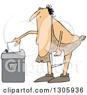 Clipart Of A Cartoon Chubby Caveman Shredding Documents Royalty Free Vector Illustration