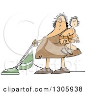 Cartoon Chubby Cavewoman Holding Her Son And Vacuuming