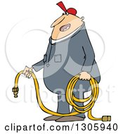 Clipart Of A Cartoon Chubby White Worker Man Holding An Air Hose Royalty Free Vector Illustration