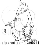 Cartoon Black And White Chubby Worker Man Holding An Air Hose