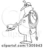 Cartoon Black And White Chubby Worker Man Holding A Grinder And An Air Hose