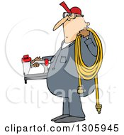 Clipart Of A Cartoon Chubby White Worker Man Holding A Nailer And An Air Hose Royalty Free Vector Illustration