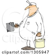 Clipart Of A Cartoon Chubby White Worker Man Painting Royalty Free Vector Illustration