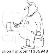 Lineart Clipart Of A Cartoon Black And White Chubby Worker Man Painting Royalty Free Outline Vector Illustration by djart