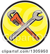 Clipart Of Cartoon Crossed Spanner And Monkey Wrenches In A Black White And Yellow Circle Royalty Free Vector Illustration