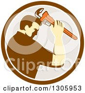 Clipart Of A Retro Male Plumber Bowing And Holding A Monkey Wrench To His Head In A Brown White And Beige Circle Royalty Free Vector Illustration