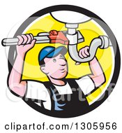 Cartoon White Male Plumber Repairing A Sink Pipe In A Black White And Yellow Circle
