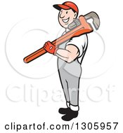 Clipart Of A Cartoon Happy White Male Plumber Holding A Giant Monkey Wrench Over His Shoulder Royalty Free Vector Illustration
