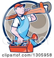 Clipart Of A Cartoon White Male Plumber Walking With A Tool Box And Giant Monkey Wrench On His Shoulder And Emerging From A Blue White And Taupe Circle Royalty Free Vector Illustration
