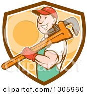 Clipart Of A Retro Cartoon Happy White Male Plumber Holding A Giant Monkey Wrench Over His Shoulder And Emerging From A Brown White And Orange Shield Royalty Free Vector Illustration
