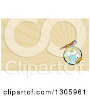 Clipart Of A Retro Cartoon Bald Eagle Plumber Holding A Monkey Wrench And Pastel Rays Background Or Business Card Design Royalty Free Illustration